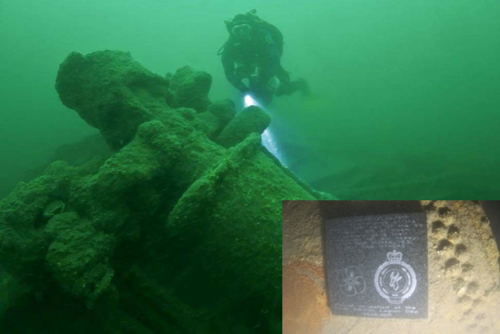 SS Mendi today - close up - with plaque placed gently on the site of wreck