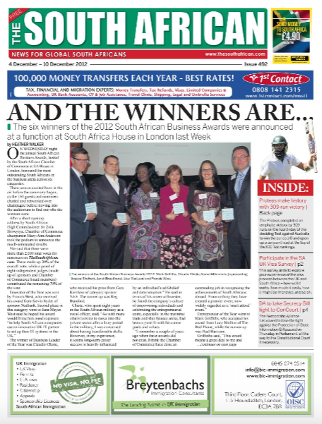 Claudio Chiste SA Business Leader of the Year - The South African Newspaper Article